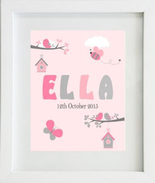 Personalised Girl Pink Grey Birds Nature Print